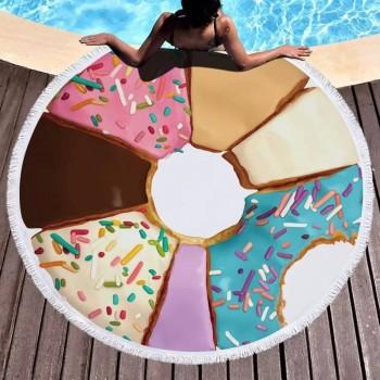 Круглое полотенце для пляжа Пончик Ассорти