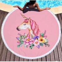 Круглое пляжное полотенце Цветочный Единорог