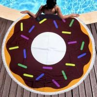 Круглое пляжное полотенце Пончик Шоколадный