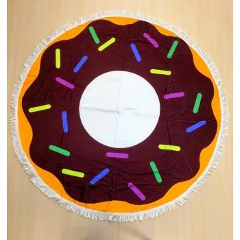 Круглое пляжное полотенце Пончик Шоколадный фото 1