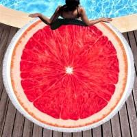 Круглое пляжное полотенце Грейпфрут