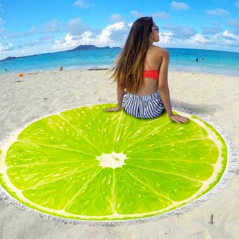 Круглое пляжное полотенце Лайм фото 1