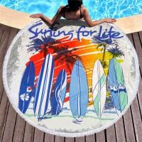 Круглое пляжное полотенце Серфинг