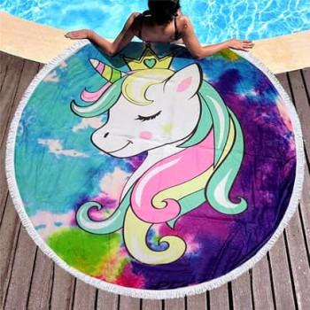 Круглое пляжное полотенце Единорожек-Принцесса 9020 от Colorful Home в интернет-магазине PannaTeks