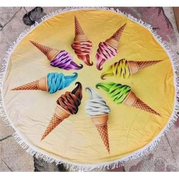 Круглое пляжное полотенце Мороженое фото 1