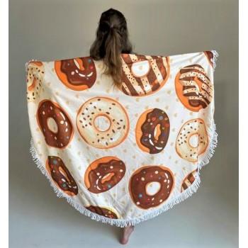 Круглое пляжное полотенце Ароматные Пончики фото 1