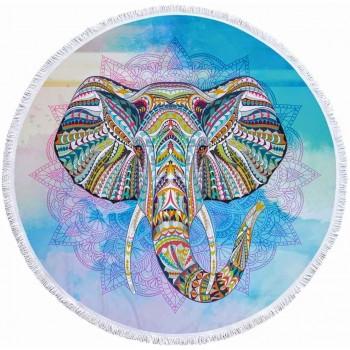 Круглое пляжное полотенце Слон