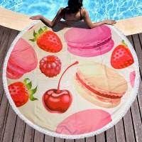 Круглое пляжное полотенце-коврик Макаруны