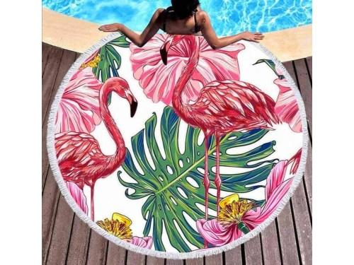 Круглое пляжное полотенце Большой Фламинго 9034 от Colorful Home в интернет-магазине PannaTeks