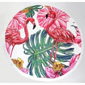 Круглое пляжное полотенце Большой Фламинго фото 1