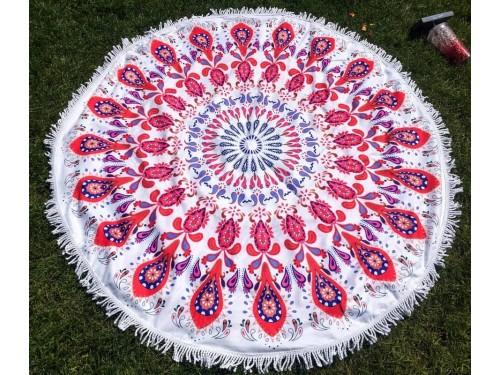 Круглое пляжное полотенце Красный Узор 9035 от Colorful Home в интернет-магазине PannaTeks