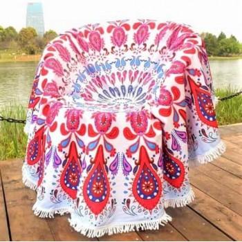 Круглое пляжное полотенце Красный Узор фото 1
