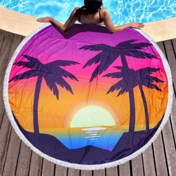 Круглое пляжное полотенце Закат