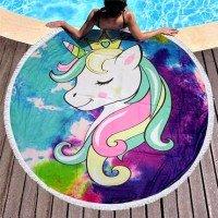 Круглое пляжное полотенце Единорожек-Принцесса