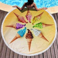 Круглое пляжное полотенце Мороженое
