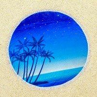 Круглое пляжное полотенце Ночное Море