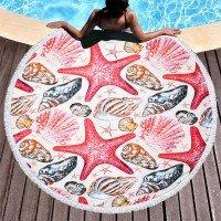 Круглое пляжное полотенце покрывало с бахромой Морская Звезда