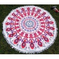 Круглое пляжное полотенце Красный Узор