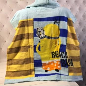 Детское пляжное полотенце с капюшоном Миньоны и Уточка фото 3