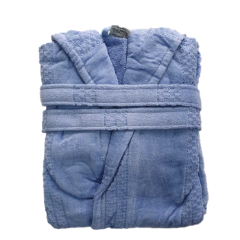 Халат женский махра/велюр короткий с капюшоном голубой
