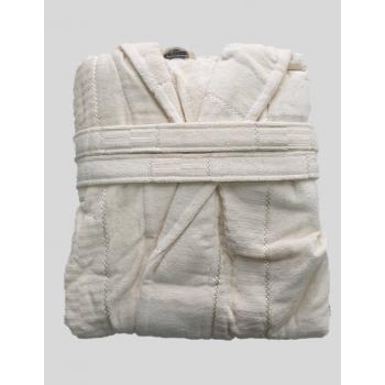 Халат женский махра/велюр короткий с капюшоном кремовый
