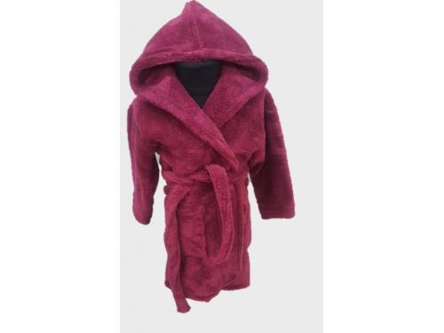Детский халат с капюшоном велсофт бордовый, Турция, Zeron 13304 от Zeron в интернет-магазине PannaTeks