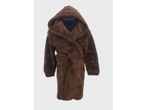 Детский халат с капюшоном велсофт шоколадный, Турция 13305 от Zeron в интернет-магазине PannaTeks