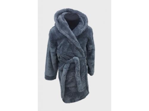 Детский халат для мальчика с капюшоном темно-серый, Турция 13306 от Zeron в интернет-магазине PannaTeks