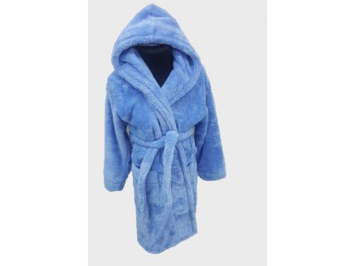 Детский халат с капюшоном на 5-6 лет велсофт голубой, Турция 13309 от Zeron в интернет-магазине PannaTeks