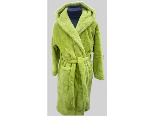 Детский халат с капюшоном велсофт оливковый, Турция 13310 от Zeron в интернет-магазине PannaTeks