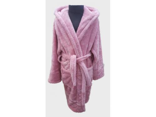 Детский халат с капюшоном велсофт нежно розовый, Турция, Zeron 13658 от Zeron в интернет-магазине PannaTeks