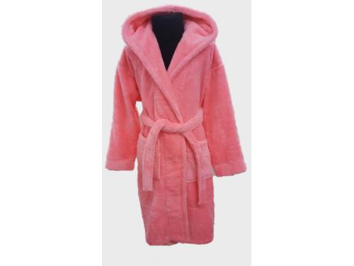 Детский халат с капюшоном велсофт, ярко розовый, Турция, Zeron, 13659 13659 от Zeron в интернет-магазине PannaTeks