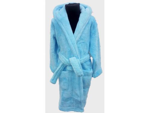 Детский халат с капюшоном на 5-6 лет велсофт бирюзовый, Турция 13665 от Zeron в интернет-магазине PannaTeks