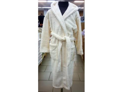 Детский халат с капюшоном велсофт кремовый, Турция 13667 от Zeron в интернет-магазине PannaTeks