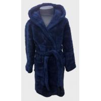 Детский халат для мальчика с капюшоном темно-синий, Турция