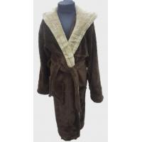 Детский халат с капюшоном велсофт коричневый, Турция