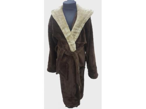Детский халат с капюшоном велсофт коричневый, Турция 13669 от Zeron в интернет-магазине PannaTeks