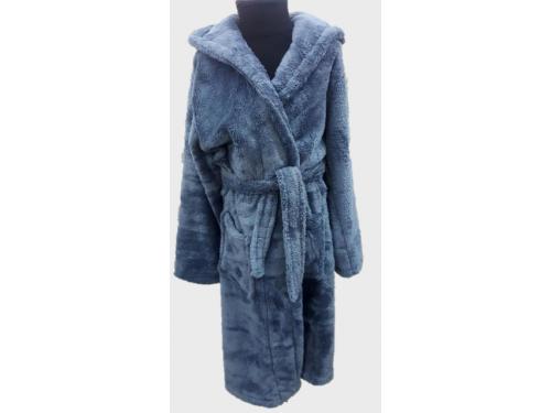 Детский халат с капюшоном велсофт серый, Турция 13670 от Zeron в интернет-магазине PannaTeks