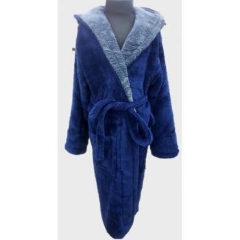 Халат махровый детский Wellsoft синий+серый
