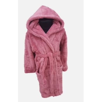 Детский халат для девочки с капюшоном сухая роза, Турция