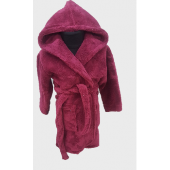 Детский халат с капюшоном велсофт бордовый, Турция