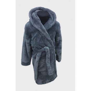 Детский халат для мальчика с капюшоном темно-серый, Турция