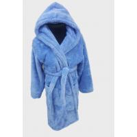 Детский халат с капюшоном на 5-6 лет велсофт голубой, Турция