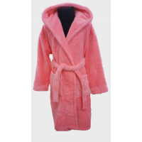Детский халат с капюшоном велсофт ярко розовый, Турция