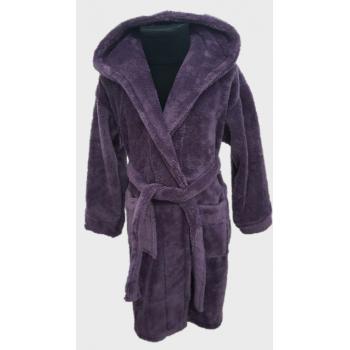 Детский халат с капюшоном велсофт фиолетовый, Турция