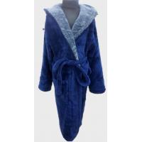Детский халат для мальчика с капюшоном синий с серым, Турция