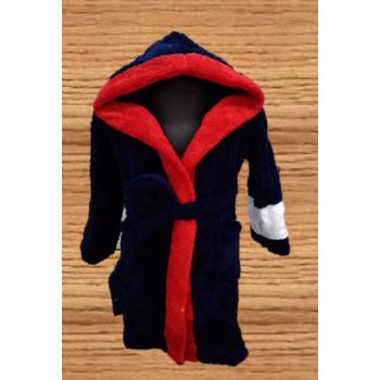 Детский халат с капюшоном велсофт синий+красный, Турция