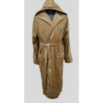 Мужской халат с капюшоном махра/велюр бежевый