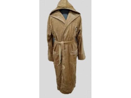 Мужской халат с капюшоном махра/велюр, бежевый, Турция, 15549 15549 от GURSAN в интернет-магазине PannaTeks