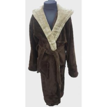 Подростковый халат с капюшоном на 13-14 лет шоколадный+беж